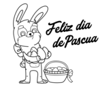 Disegno di Coniglio con molte uova di Pasqua da colorare