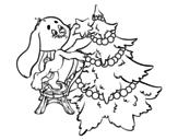 Disegno di Coniglio decorazione albero di Natale da colorare