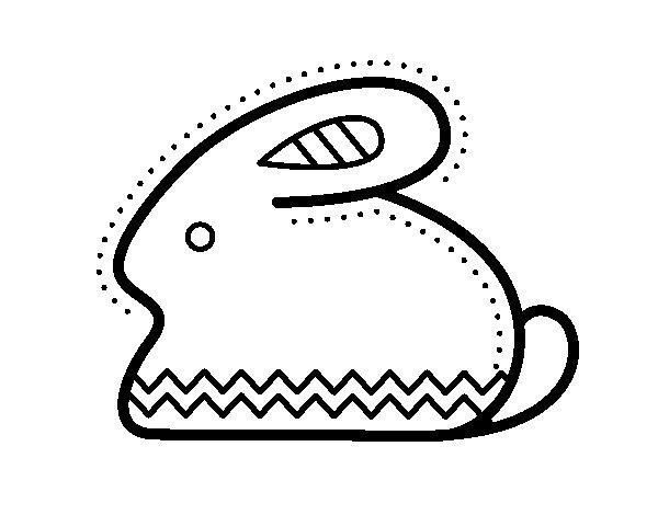Disegno di Coniglio di Pasqua laterale da Colorare