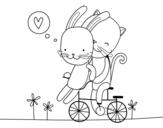 Disegno di Coniglio e Gatto amanti da colorare