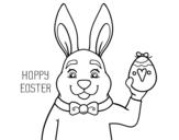 Disegno di Coniglio e Pasqua da colorare