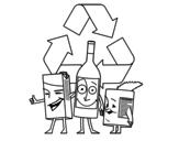 Disegno di  Contenitori per il riciclaggio da colorare