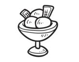 Disegno di  Coppa con tre palline di gelato da colorare
