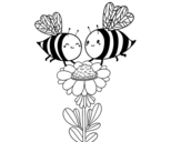 Dibujo de Coppia di api