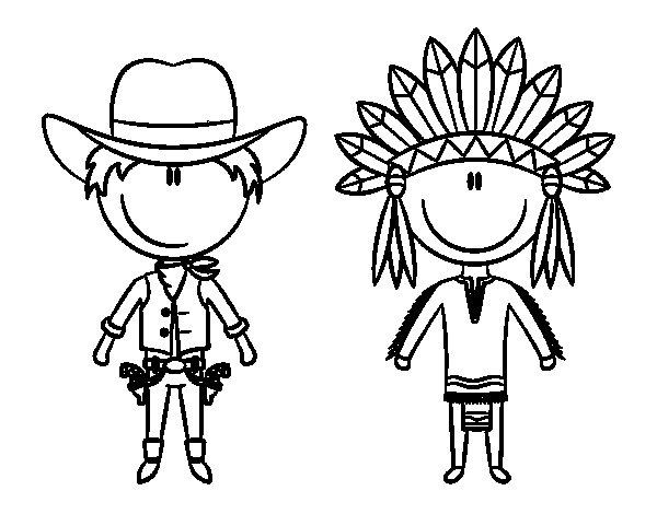 Disegno di Cowboy e indiani contenuti da Colorare