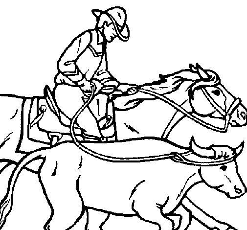 Disegno di Cowboy e mucca  da Colorare