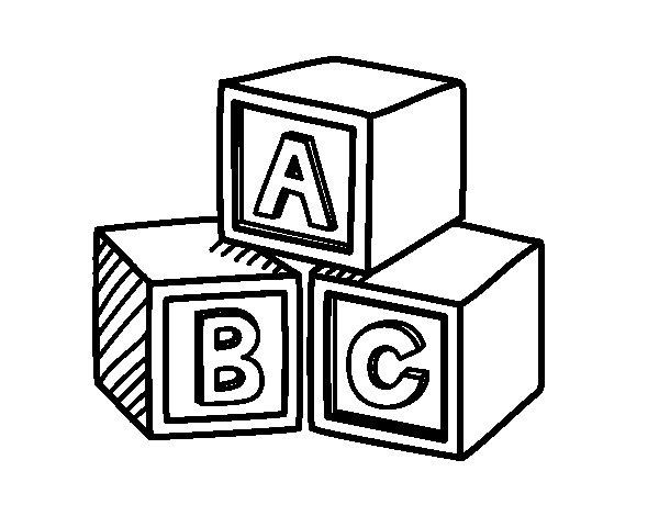 Disegno di Cubi educativi ABC da Colorare