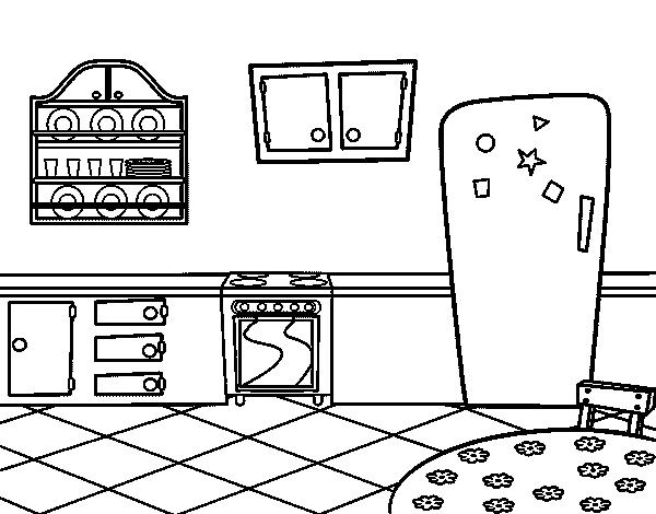 Disegno di cucina tradizionale da colorare - Colorare la casa ...