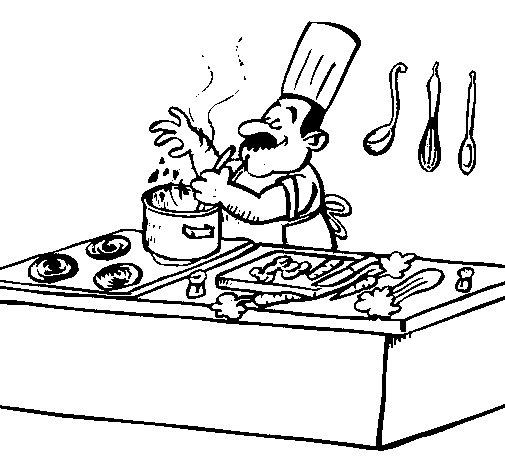 Disegno di cuoco in cucina da colorare for Disegni da colorare cucina