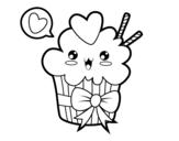 Disegno di Cupcake kawaii con cappio da colorare