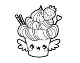 Disegno di Cupcake kawaii con la fragola da colorare