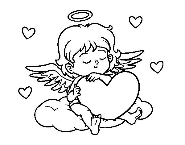Disegno di Cupido con cuore da Colorare