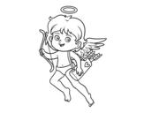 Disegno di Cupido con il suo arco magico da colorare