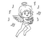Disegno di Cupido giocando arpa da colorare