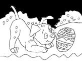 Disegno di Dalmata che gioca da colorare