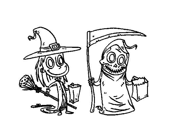 Disegno di Dolcetto o scherzetto di Halloween da Colorare