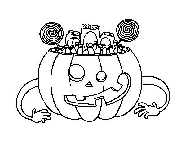 Zucca Halloween Da Colorare: Disegno Di Dolci Di Zucca Di Halloween Da Colorare