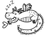 Disegno di Drago infantile dormendo da colorare