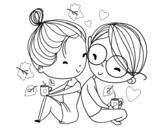 Disegno di Due giovani amanti da colorare