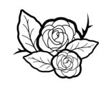 Disegno di Due rose da colorare