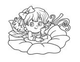 Disegno di Fata su un fiore da colorare