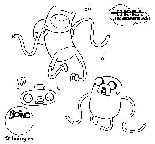 Disegno di Finn e Jake l'ascolto di musica da Colorare