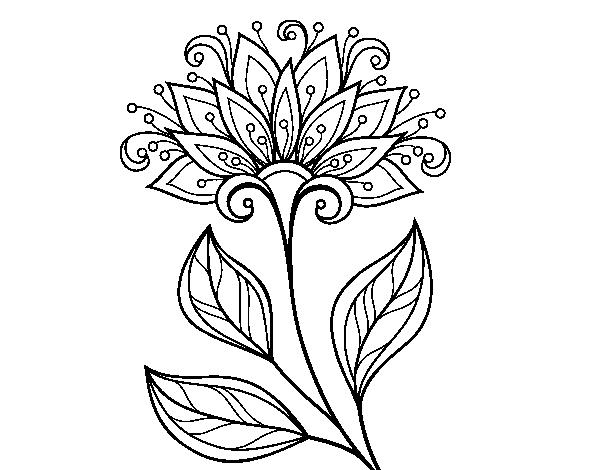 Disegno di fiore decorativo da colorare for Disfare la valigia in inglese