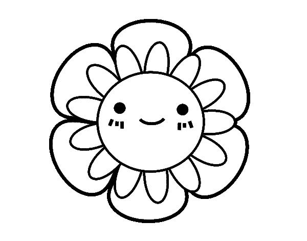 Dibujo De Flor De Cerezo Para Colorear: Disegno Di Fiore Infantile Da Colorare
