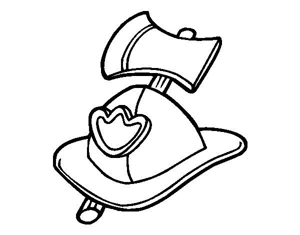 Disegno di Fireman Helmet e Axe da Colorare