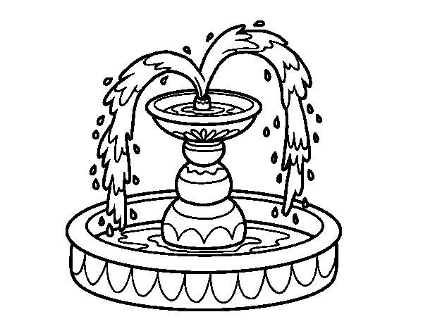 Disegno di fontana da colorare for Disegni di casa da stampare