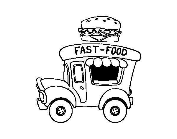 Disegno di Food truck di hamburger da Colorare