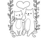 Disegno di Gattini innamorati da colorare