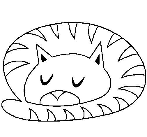 Disegno di gatto addormentato da colorare for Disegno gatto facile