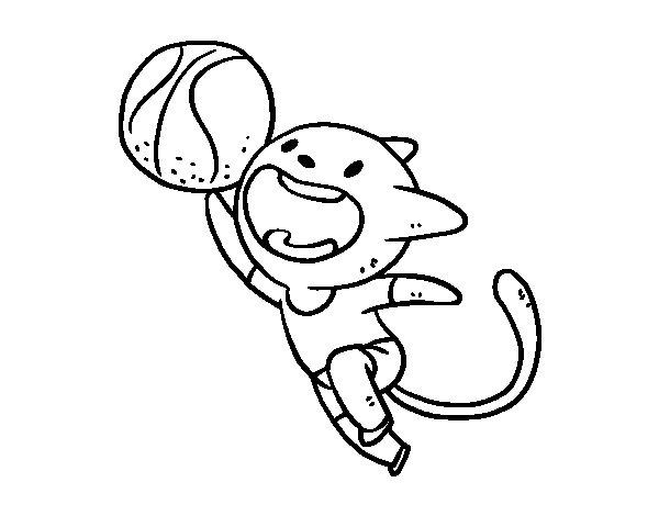 Disegno di Gatto basket da Colorare