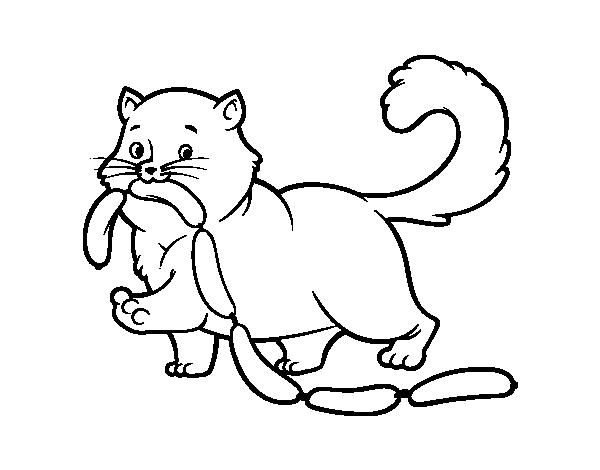 Disegno di gatto con salsiccia da colorare for Cani e gatti da stampare e colorare