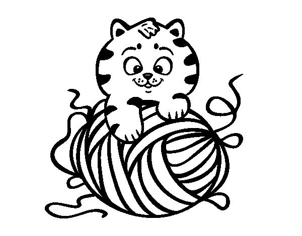 Disegno di gatto con un gomitolo di lana da colorare for Immagini gatti da colorare