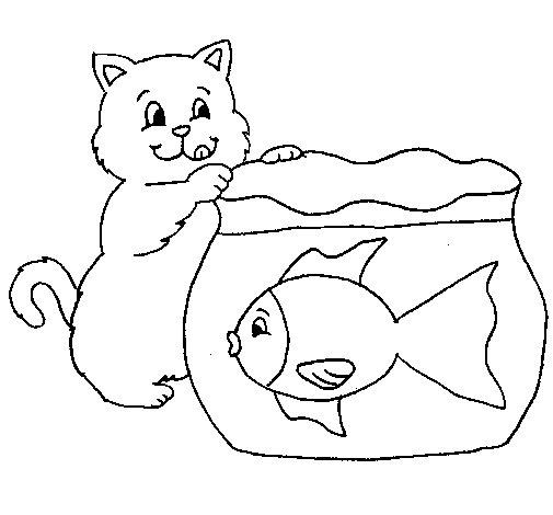 Top Disegno di Gatto e pesce da Colorare - Acolore.com HN31