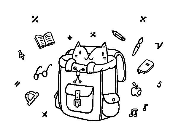 Disegno di Gatto in uno zaino da Colorare