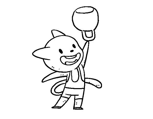 Disegno di Gatto pratiquant haltérophilie da Colorare
