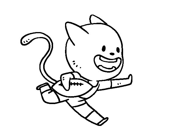 Disegno di Gatto rugby da Colorare