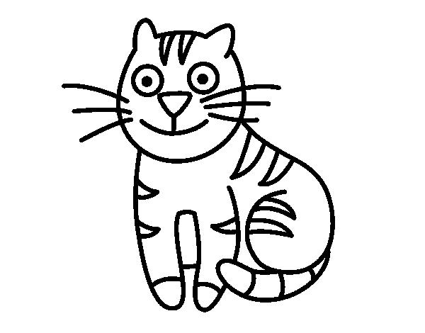 Disegno di gatto simpatico da colorare for Disegno gatto facile