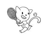 Disegno di Gatto tenis da colorare