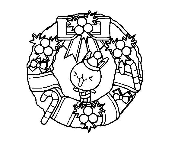Disegno di Ghirlanda di Natale e coniglietto da Colorare