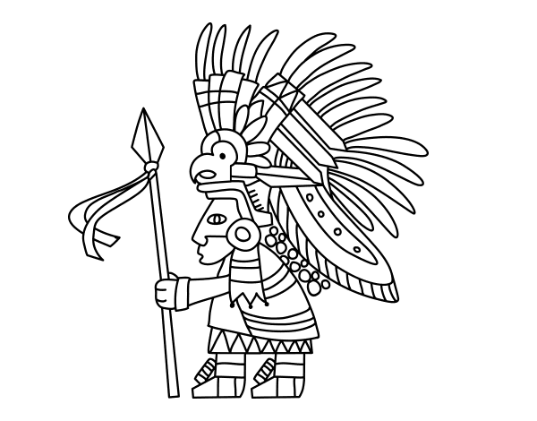 Disegno di guerriero azteco da colorare for Guerriero da colorare