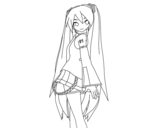 Disegno di Hatsune Miku vocaloid da colorare