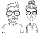 Disegno di Hipsters da colorare