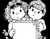 Disegno di I bambini con un libro da colorare