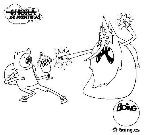 Disegno di Ice King contro Finn da Colorare