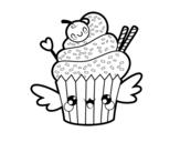 Disegno di Il cupcake kawaii da colorare