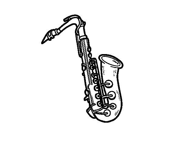 Disegno di Il sassofono tenore da Colorare